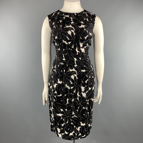 OSCAR DE LA RENTA 14 Black & White Floral Stretch Silk Sleeveless Shift Dress
