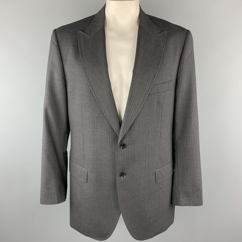 DOLCE & GABBANA 48 Long Charcoal Stripe Wool Peak Lapel Sport Coat