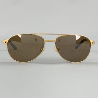 CARTIER Gold Tone Bushed Metal Edition Santos - Dumont Sunglasses