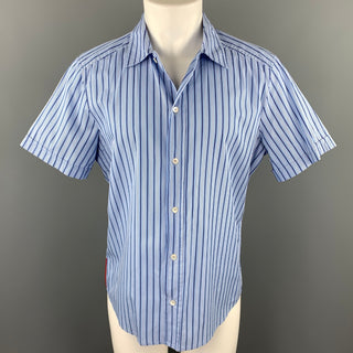 PRADA Size M Blue Stripe Cotton Button Up Short Sleeve Shirt