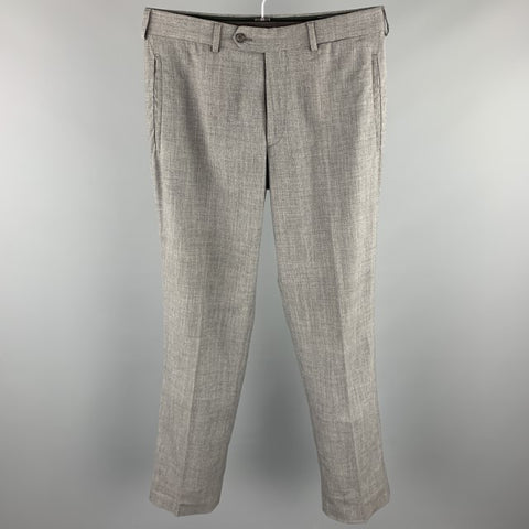 PRADA Size 31 Grey Wool Blend Zip Fly Dress Pants