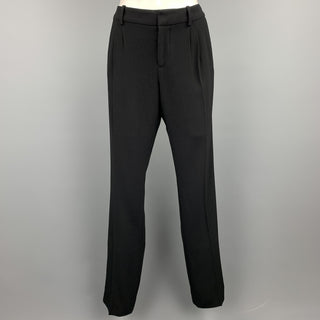 BALENCIAGA Size L Black Triacetate Blend Pleated Dress Pants