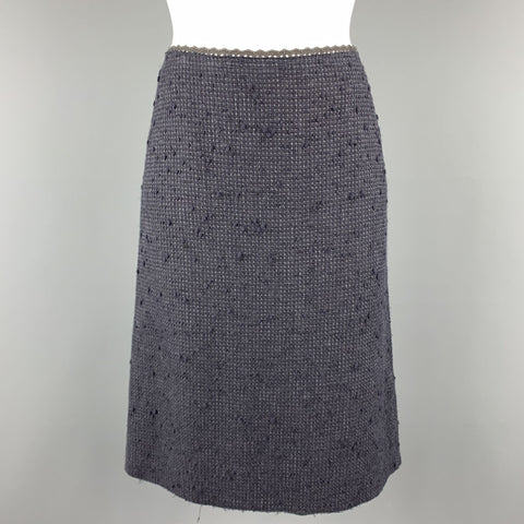PRADA Size 6 Navy Cotton Blend Textured Tweed Lace Trime A Line Skirt