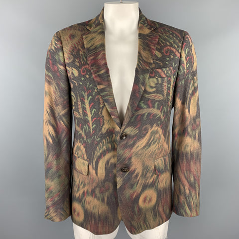 ETRO Size 42 Beige Abstract Paisley Wool Blend Notch Lapel Sport Coat