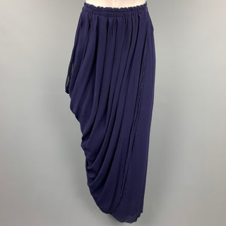 BETH SCHAEFFER Size S Navy Pleated Rayon Asymmetrical Skirt