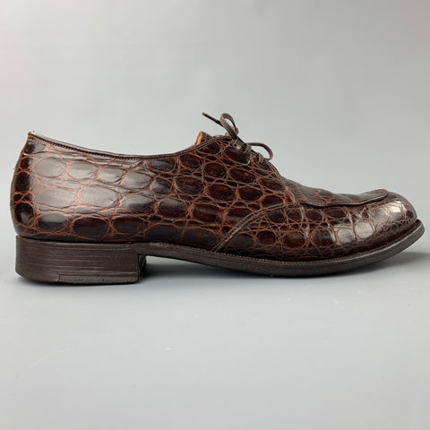 NETTLETON Size 9 Brown Embossed Leather Cap Toe Lace Up Shoes