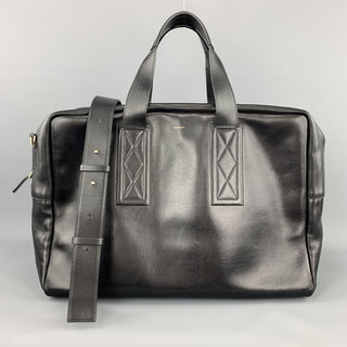 PAUL SMITH Black Leather Triple Handle Weekender Bag