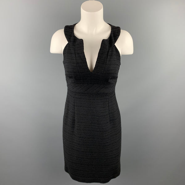 TRINA TURK Size 0 Black Textured Cotton Blend Sleevless V-Neck Dress