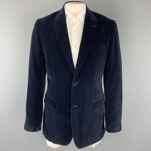 THEORY Size 42 Navy Stripe Cotton Velvet Notch Lapel Long Sport Coat