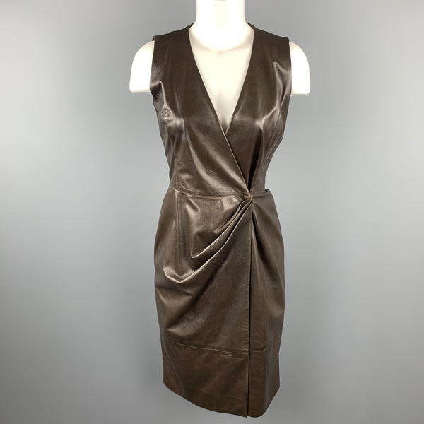 OSCAR DE LA RENTA Size 4 Brown Leather Draped Sleeveless Wrap Dress