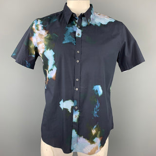 PS by PAUL SMITH Size XL Black & Blue Print Cotton Button Up Short Sleeve Shirt