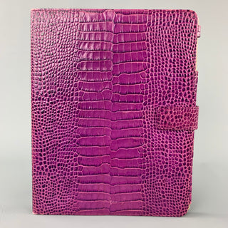 SMYTHSON OF BOND ST. Purple Embossed Leather iPad Case