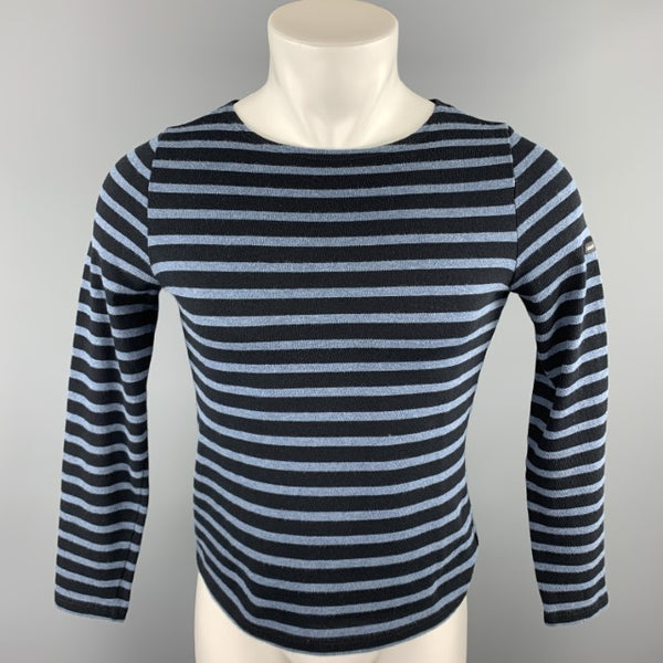 SAINT JAMES Size S Navy & Black Stripe Cotton Boat Neck Pullover