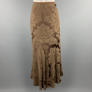 RALPH LAUREN Black Label Size 8 Brown Floral Damask Rayon Mermaid Skirt