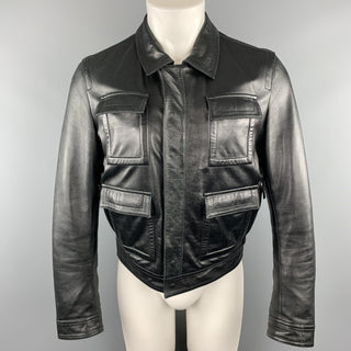 GIVENCHY Size 38 Black Leather Collared Flap Pocket Jacket