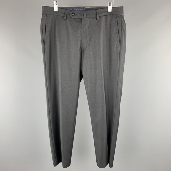 INCOTEX Size 32 x 28 Gray Solid Wool Flat Front Dress Pants