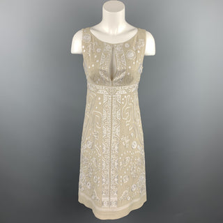 CHRISTIAN LACROIX Size 4 Beige Embroidered Silk Cocktail Shift Dress