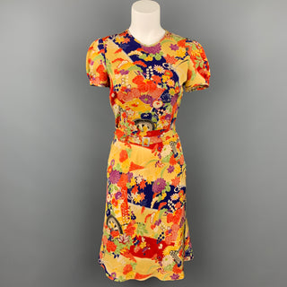 RALPH LAUREN Collection Size 2 Multi-Color Floral Silk Belted Dress