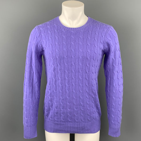 POLO by RALPH LAUREN Size S Purple Cable Knit Cashmere Crew-Neck Sweater