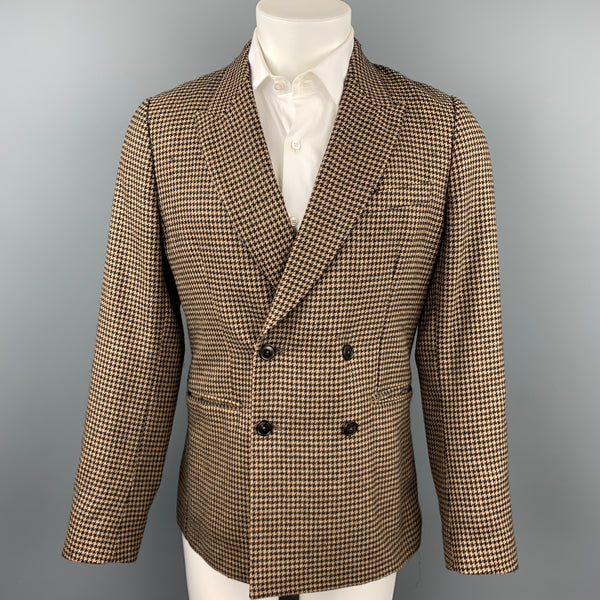 PAUL SMITH Soho Fit Size 38 Regular Brown Houndstooth Camel Hair / Wool Double Breasted Sport Coat