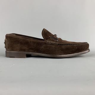 TOD'S Size 9.5 Brown Suede Metal Hardware Slip On Loafers