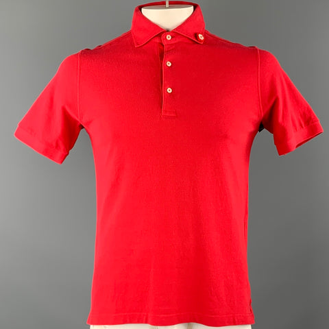 CORSINI Size S Red Flower Button Pique Polo