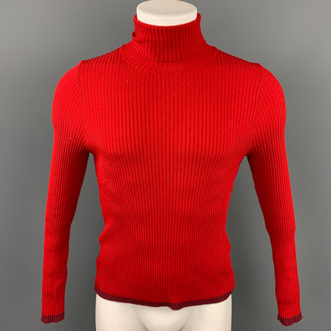 JOHN BARTLETT Size M Red Ribbed Wool Blend Turtleneck Pullover Sweater