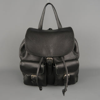 BARANTANI Black Leather Backpack