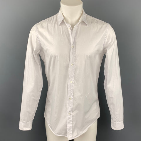 VIKTOR & ROLF Monsieur Size S White Shimmery Cotton Button Up Long Sleeve Shirt