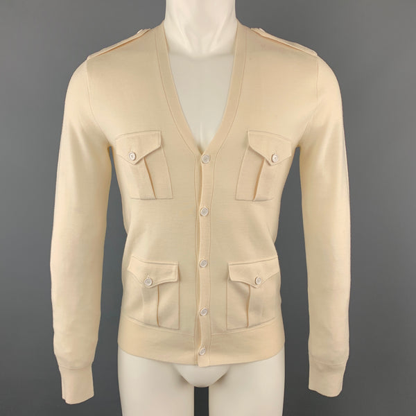 RALPH LAUREN Size S Beige Solid Merino Wool Patch Pockets Cardigan Sweater