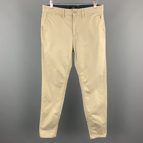 PULL & BEAR Size 30 x 29 Solid Tan Cotton Casual Pants