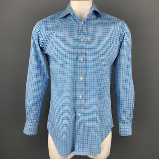 ETRO Size M Blue & White Plaid Cotton Button Up Long Sleeve Shirt
