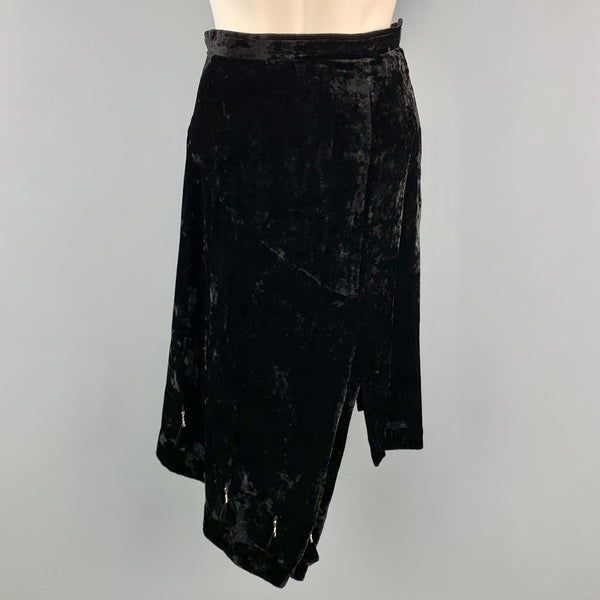 COMME des GARCONS Size S Black Polyester / Rayon Asymmetrical Hem Black Beads Skirt