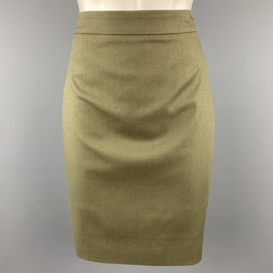 GIVENCHY Size 4 Olive Cotton Blend Canvas Pencil Skirt