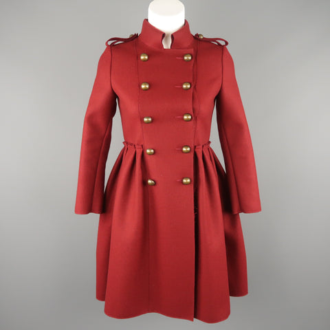 LANVIN Petite Burgundy Wool Blend Double Breasted Military Skirt Coat