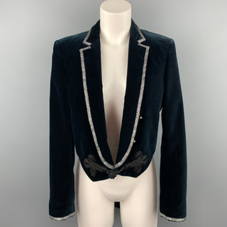 ROBERTO CAVALLI Size 6 Navy Cotton Velvet Notch Lapel Tails Blazer