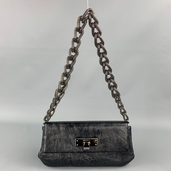MICHELE Black Textured Leather Gun Metal Chain Handbag