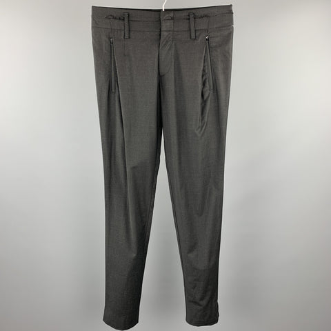 EMPORIO ARMANI Size 30 Black Wool Blend Casual Pants