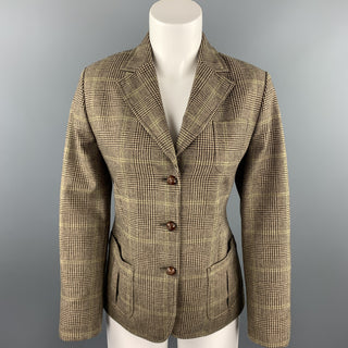 FACONNABLE Size 6 Brown Glen Plaid Wool / Cashmere Notch Lapel Jacket