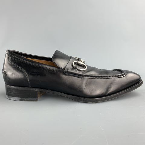 GUCCI Size 10.5 Black Leather Horsebit Loafers