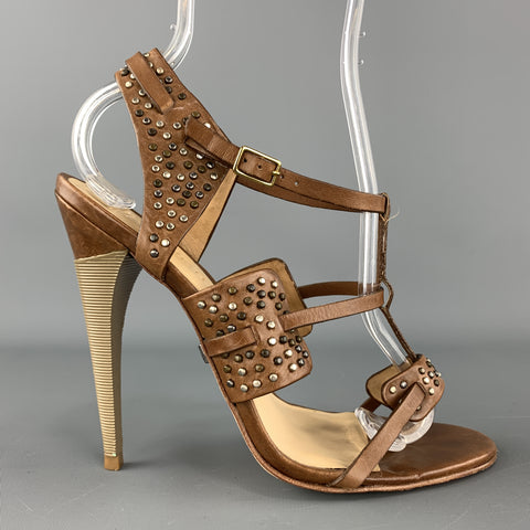 L.A.M.B Size 7 Brown Studded Leather Strappy Sandals