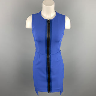 OPENING CEREMONY Size 4 Blue Stretch Polyester Blend Sheath Double Zipper Dress