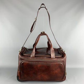 MEDICI FIRENZE Brown Leather Top Handle Shoulder Strap Duffle Bag