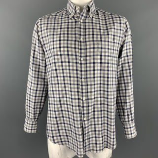 BRUNELLO CUCINELLI Size XXL Grey & Navy Plaid Cotton Long Sleeve Shirt