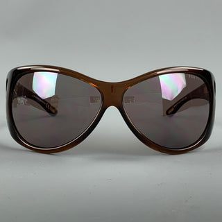 TOM FORD Brown Acetate Natasha Shield Sunglasses