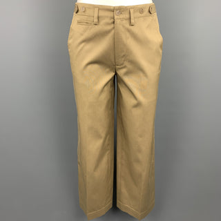 RALPH LAUREN Black Label Size 2 Khaki Cotton / Silk Wide Leg Dress Pants
