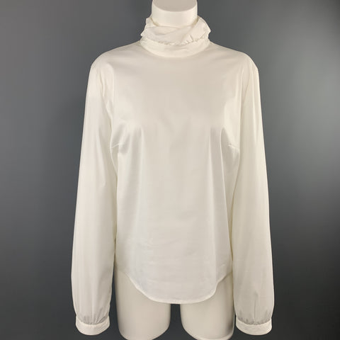 PIAZZA SEMPIONE Size S White Cotton Blend Gathered Collar Blouse
