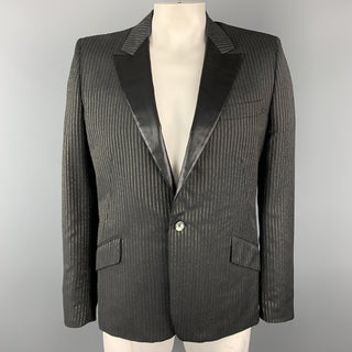 ALEXANDER MCQUEEN Size 44 Charcoal & Gold Striped Shiny Peak Lapel Sport Coat