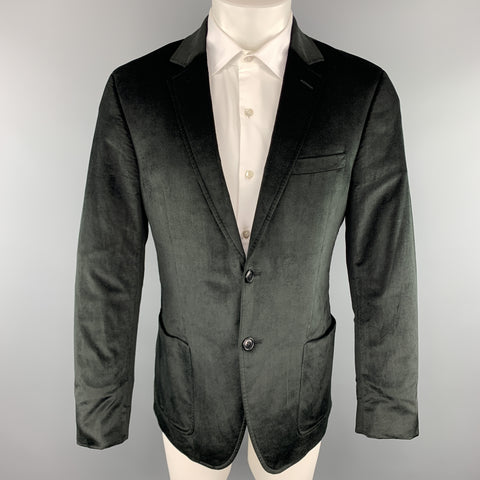 THEORY Size 40 Regular Black Velvet Notch Lapel Patch Pocket Sport Coat