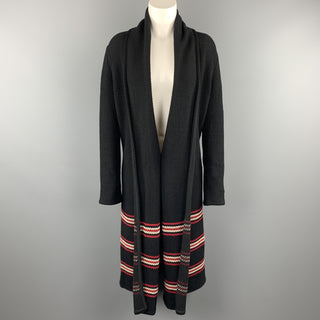 ST. JOHN Size S Black Knit Red Striped Cardigan Coat